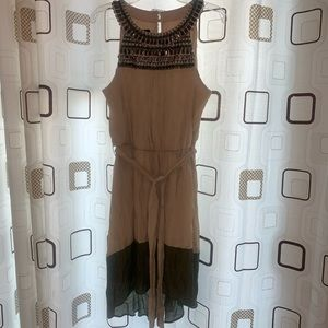 BCX dress in tan color and dark green line pattern